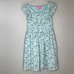 Pinky Dress Size 8 Blue w/ Bird Print